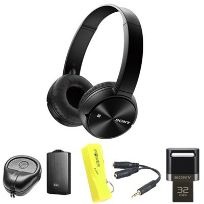 Wireless Bluetooth Headphones -Black w/ FiiO A3 Amplifier Bundle