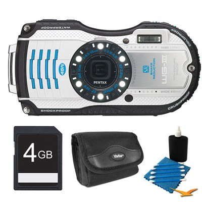 WG-3 16MP White  Waterproof Shockproof Crushproof Digital Camera Kit
