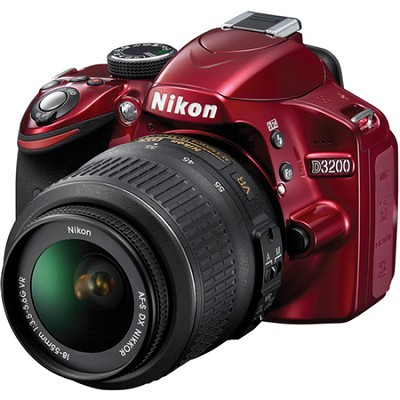 D3200 DX-format Digital SLR Kit w/ 18-55mm DX VR Zoom Lens (Red)