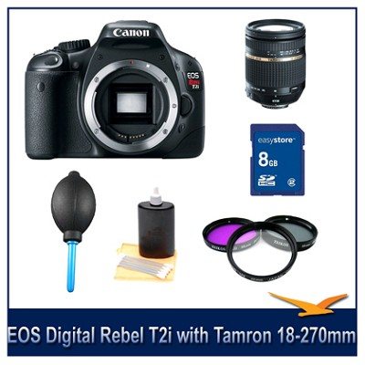 EOS Digital Rebel T2i with Tamron 18-270mm PZD Lens Bundle Deal