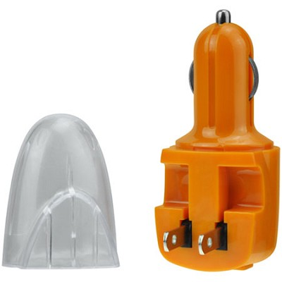USB AC and DC Car and Wall Charger (Orange)