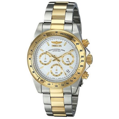 Men's Speedway Collection 18k Gold Plating Stainless Steel Gold, White Dial 9212
