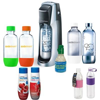 Fountain Jet Soda Maker in Black with Exclusive Kit w/ 4 Bottles & Starter CO2