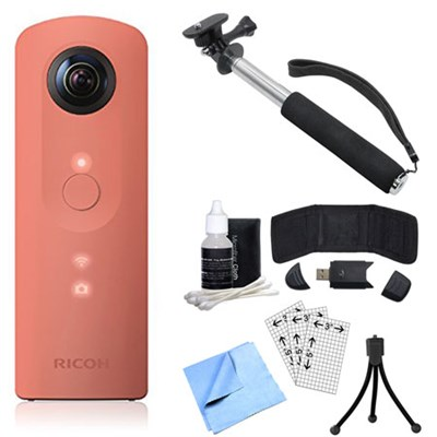 Theta SC 360 Degree Full HD Spherical Digital Camera Pink Bundle