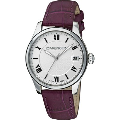 Ladies Terragraph Watch - Silver Dial/Aubergine Leather Strap