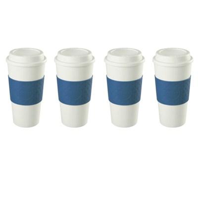 16-Ounce Capacity Acadia Reusable To Go Mug - Blue (2510-9966) 4 Pack Bundle