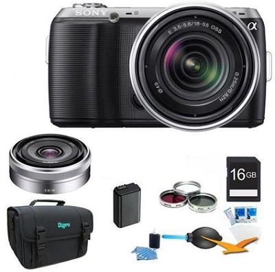Alpha NEX-C3 Black Digital SLR w/ 18-55mm, 16mm f2.8 Lens