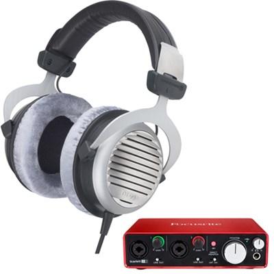 DT 990 Premium Headphones 600 OHM w/ 2i2 USB Audio Interface