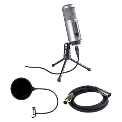 Cardioid Dynamic USB Microphone - ATR2500-USB w/ Microphone Wind Screen Bundle