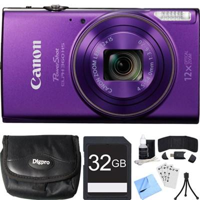 PowerShot ELPH 360 HS Purple Digital Camera w/ 12x Optical Zoom 32GB Card Bundle