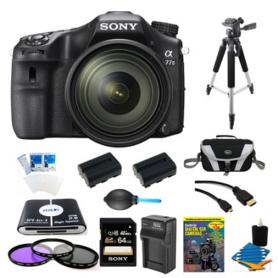 a77II HD DSLR Camera with 16-50mm Lens, 64GB Card, and 2 Battery Bundle