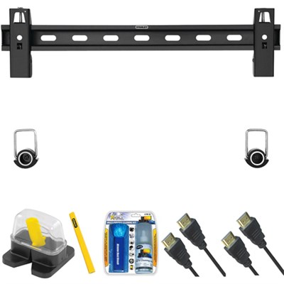 Large Fixed TV Mount & Set Up Kit for  40`- 65` TVs up to 100LB - TLS-200S