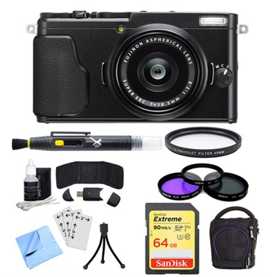 X-70 X Series Black Digital Camera with 18.5mm Lens, 64GB Card, and Case Bundle