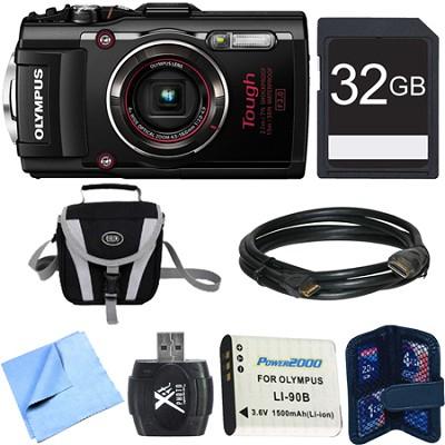 TG-4 16MP 1080p HD Waterproof Digital Camera Black 32GB Memory Card Bundle
