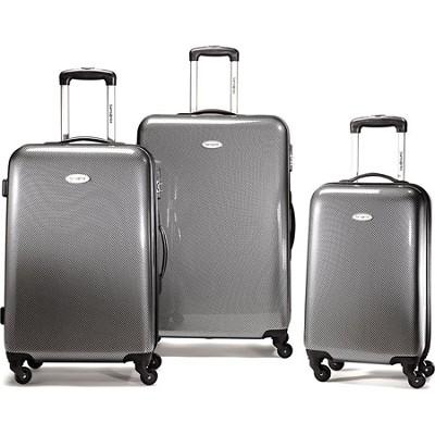 Winfield Fashion 3 Piece Nest Spinner Luggage - Black/Silver