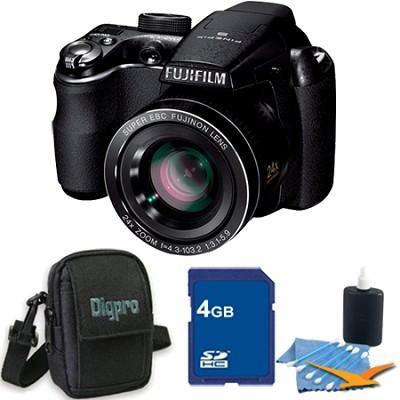 FinePix S3200 14 MP 24x Super Wide Angle Zoom Digital Camera 3.0 LCD 4GB Bundle