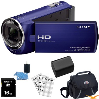 HDR-CX220/L Full HD Camcorder (Blue) Essentials Bundle