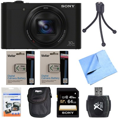Cyber-Shot DSC-WX500 Digital Camera 3-Inch LCD Screen Black 64GB Deluxe Bundle