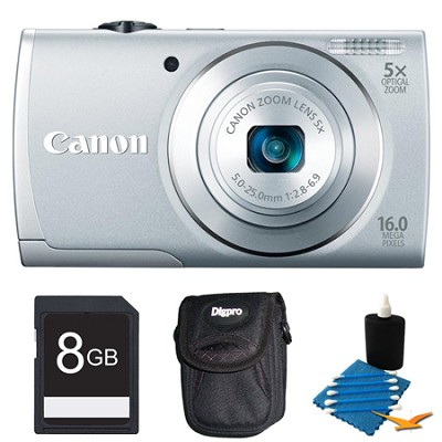PowerShot A2600 Silver 16MP Digital Camera 8GB Bundle