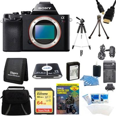 Alpha 7R a7R Digital Camera 64 GB SDXC Card, Battery, and Tripod Bundle
