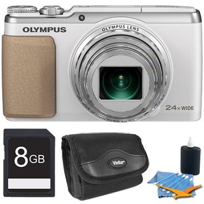 Stylus SH-50 iHS 16MP 24x Wide / 48x SR Zoom HD Digital Camera White 8 GB Kit