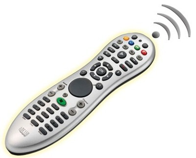 Window Media Center remote control with  mouse curser pad