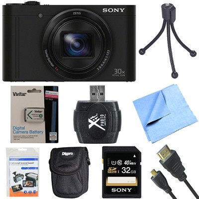 Cyber-Shot DSC-WX500 Digital Camera with 3-Inch LCD Screen Black 32GB Bundle