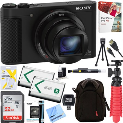 Cyber-shot HX80 Compact Digital Camera w/ 32GB Dual Battery Accessory Bundle