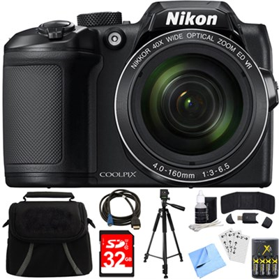 COOLPIX B500 16MP 40x Optical Zoom Digital Camera w/ Built-in Wi-Fi 32GB Bundle