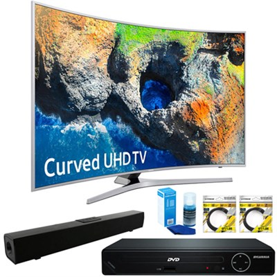 48.5` Curved 4K UHD Smart LED TV 2017+ HDMI DVD Player + Sound Bar Bundle