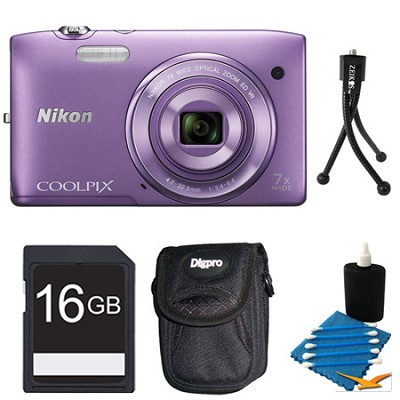 COOLPIX S3500 Purple Digital Camera 16GB Bundle