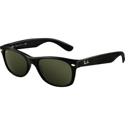 New Wayfarer Sunglasses - Black Frames/Green Lens 52mm