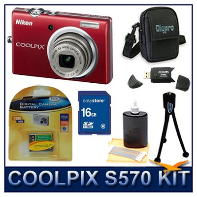 COOLPIX S570 12MP Digital Camera (Red) w/ 16 GB Memory Kit