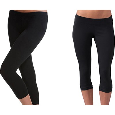 2-Pack of Seamless Capri Yoga Leggings in Midnight Black ( Size S/M ) Style 5018