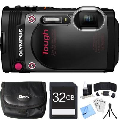 TG-870 Tough Waterproof 16MP Black Digital Camera 32GB SDHC Memory Card Bundle