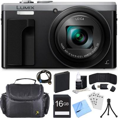 ZS60 LUMIX 4K 18 MP Digital Camera with Wi-Fi - Silver (DMC-ZS60S) 16GB Bundle