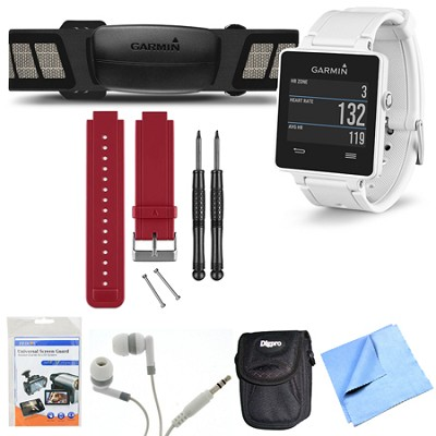 vivoactive GPS Smartwatch White with Heart Rate Monitor Red Band Bundle