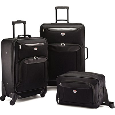 Brookfield Black 3 Piece Luggage Set (21` Spinner, 25` Spinner, Boarding Bag)