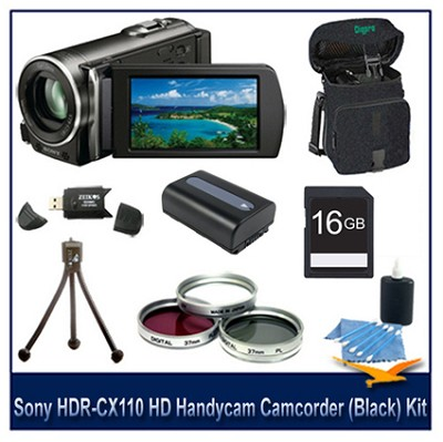 HDR-CX110 HD Handycam Camcorder(Black) With  16GB card, Battery, and more