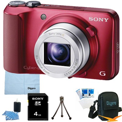 Cyber-shot DSC-H90 16.1 MP 16x Optical Zoom HD Video Camera (Red) 4GB Bundle