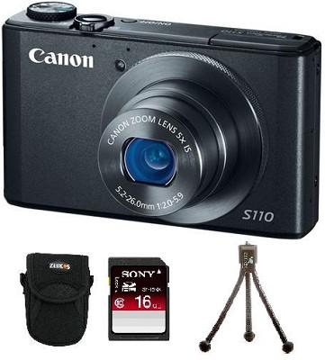 PowerShot S110 Compact High Performance Digital Camera (Black) Bundle Deal