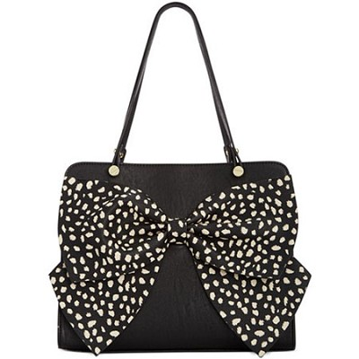 Bow Regard Large Black Satchel with Polka-dot Bow