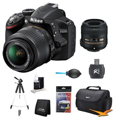 D3200 DX-format Digital SLR Kit w/ 18-55mm and 40mm DX VR Zoom Lens Kit