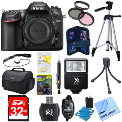 D7200 DX-Format 24.2MP Digital HD-SLR Body with 3.2` LCD WiFi NFC Deluxe Bundle