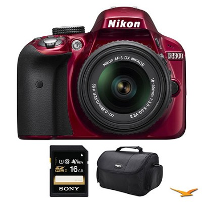 D3300 DSLR HD Red Camera with 18-55mm Lens, 16GB Card, and Case Bundle