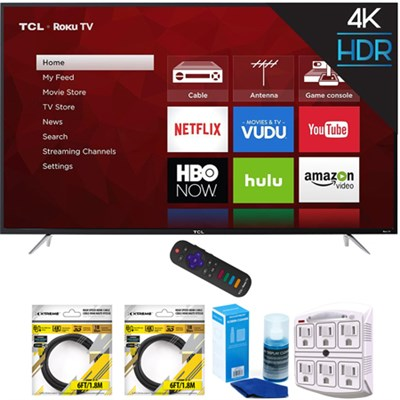 65` 4K 120Hz Ultra HD Dual Band Roku Smart LED TV Black with Cleaning Bundle