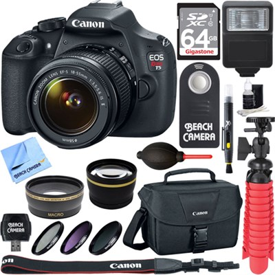 EOS Rebel T5 SLR Digital SLR Camera + EF-S 18-55mm IS II Lens Memory & Flash Kit