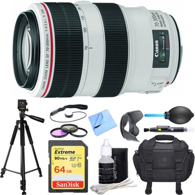 EF 70-300mm f/4-5.6L IS USM UD Telephoto Zoom Lens Deluxe Accessory Bundle