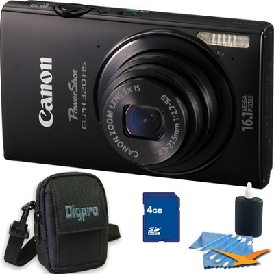 PowerShot ELPH 320 HS 16MP Black Digital Camera 4GB Bundle