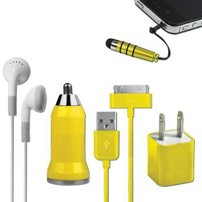 5-in-1 Travel Kit for iPhone 4/4S and 4th Generation iPods - Yellow